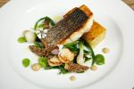Sea Bass and scallops with morels and a potato pressing