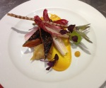 Head to Tail of Mackerel - Soy soaked Mackerel, compressed cucumber, mandarin puree, chicory, belly won-ton and crispy tail.